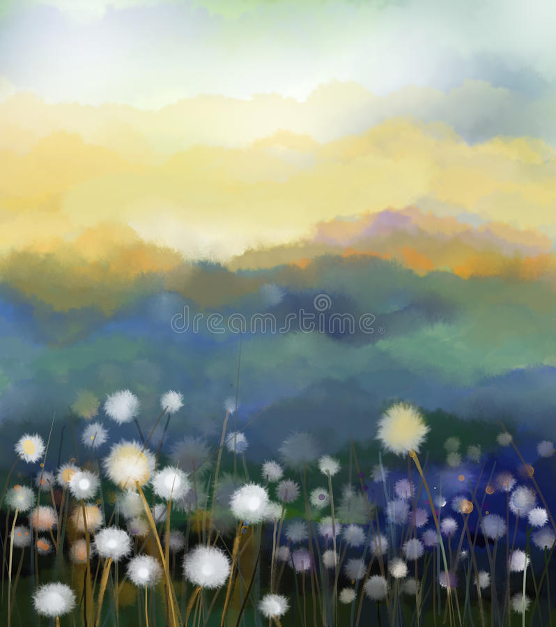 Abstract oil painting white flowers field in soft color. Oil paintings white dandelion flower in the meadows. Spring floral seasonal nature with blue - green vector illustration