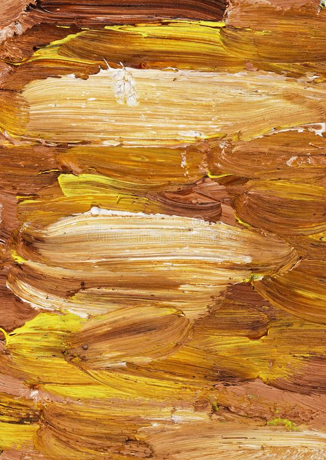 Abstract oil painting. An abstract oil painting with yellow and brown colors royalty free stock photos