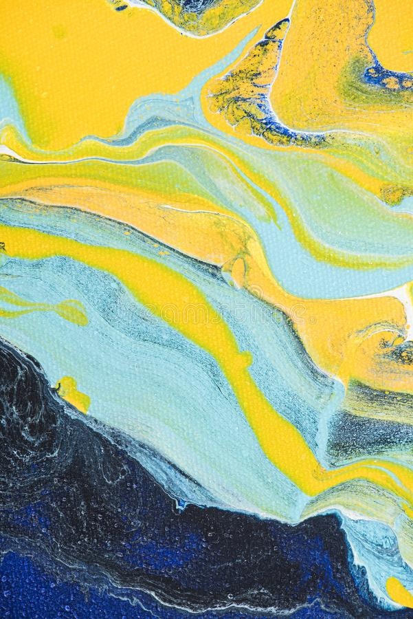 Abstract oil painting with yellow and light blue colors royalty free stock photography