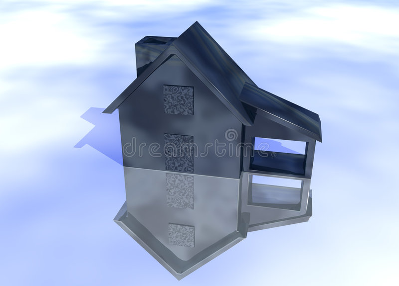 Abstract Oily Black House Model. On Blue-Sky Background with Reflection Concept Fuel Expenses or Rising Prices and Bad Environment stock illustration