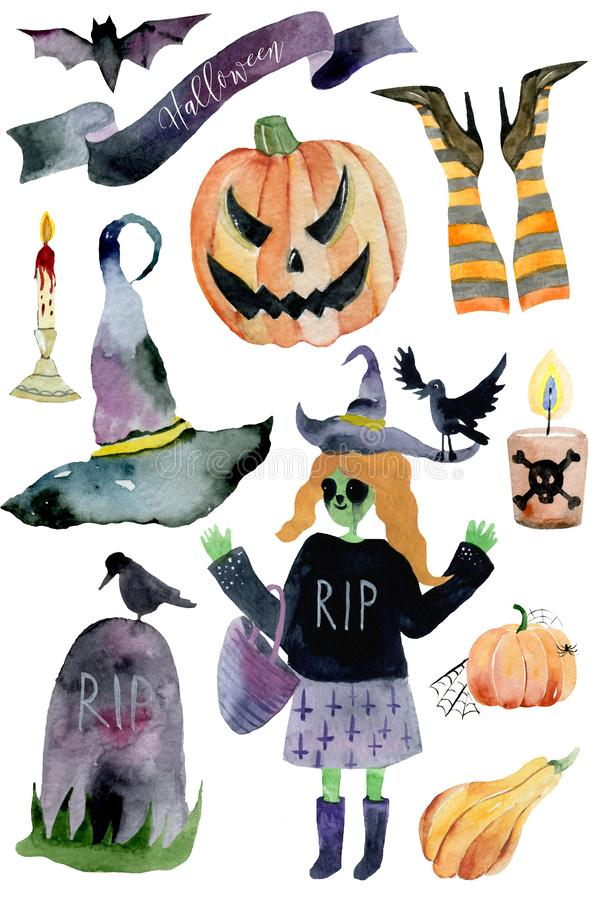Watercolor Halloween Set. Cute illustrations for Halloween. stock images