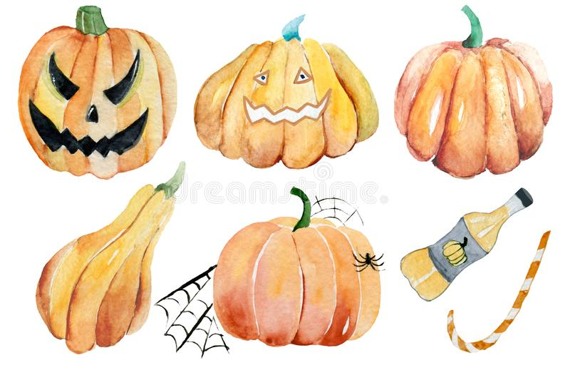 Watercolor Halloween Set. Cute illustrations for Halloween. stock photography