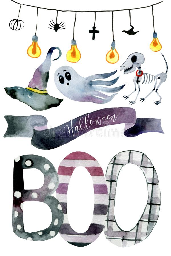 Watercolor Halloween Set. Cute illustrations for Halloween. royalty free stock photos