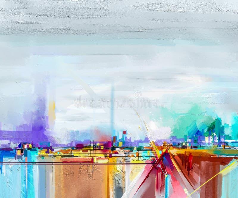 Abstract olieverfschilderijlandschap Olieverfschilderij openlucht op canvas Semi abstracte boom, gebied, weide royalty-vrije illustratie