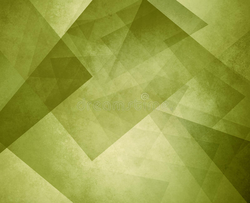 Abstract olive green geometric background with layers of triangles and rectangles with distressed texture design stock photos