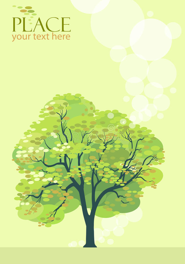 Abstract Olive Green Tree Background - Stylized vector illustration