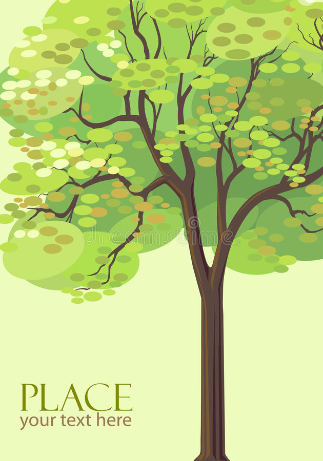 Abstract Olive Green Tree Background - Stylized royalty free illustration