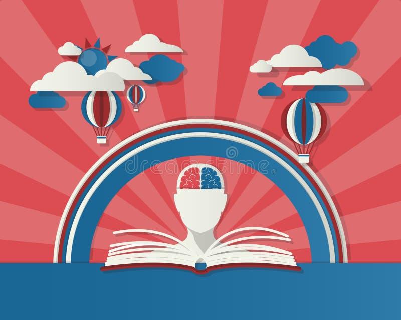 Abstract onderwijsconcept kan voor uw zaken worden gebruikt, boeken stock illustratie