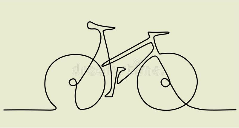 Abstract one line drawing with bike royalty free illustration