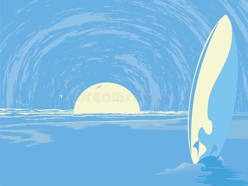 Abstract ontwerp als achtergrond met zon en rivier, de vector van het Aardbehang stock illustratie