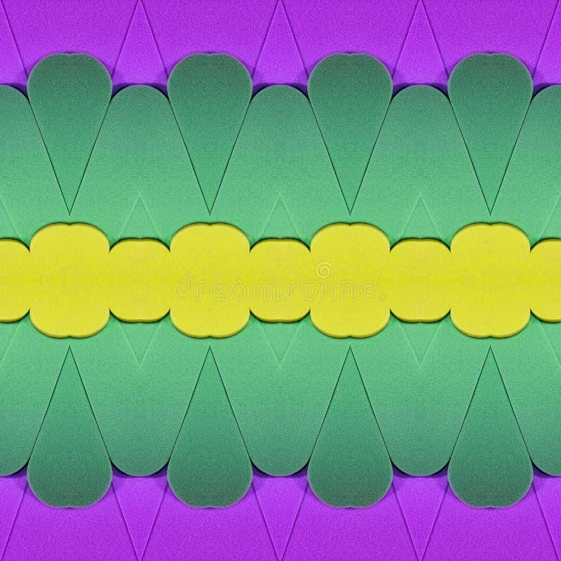 abstract ontwerp met besnoeiingen van schuimend in gele, groene en purpere kleuren, achtergrond en textuur stock illustratie