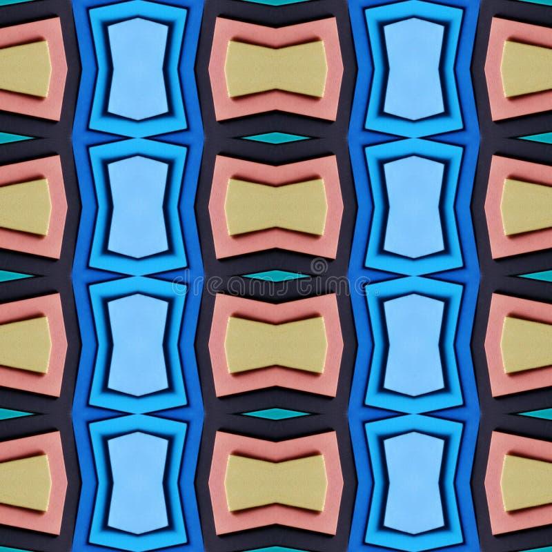 abstract ontwerp met besnoeiingen van schuimend in oranje en blauwe kleuren, achtergrond en textuur stock illustratie