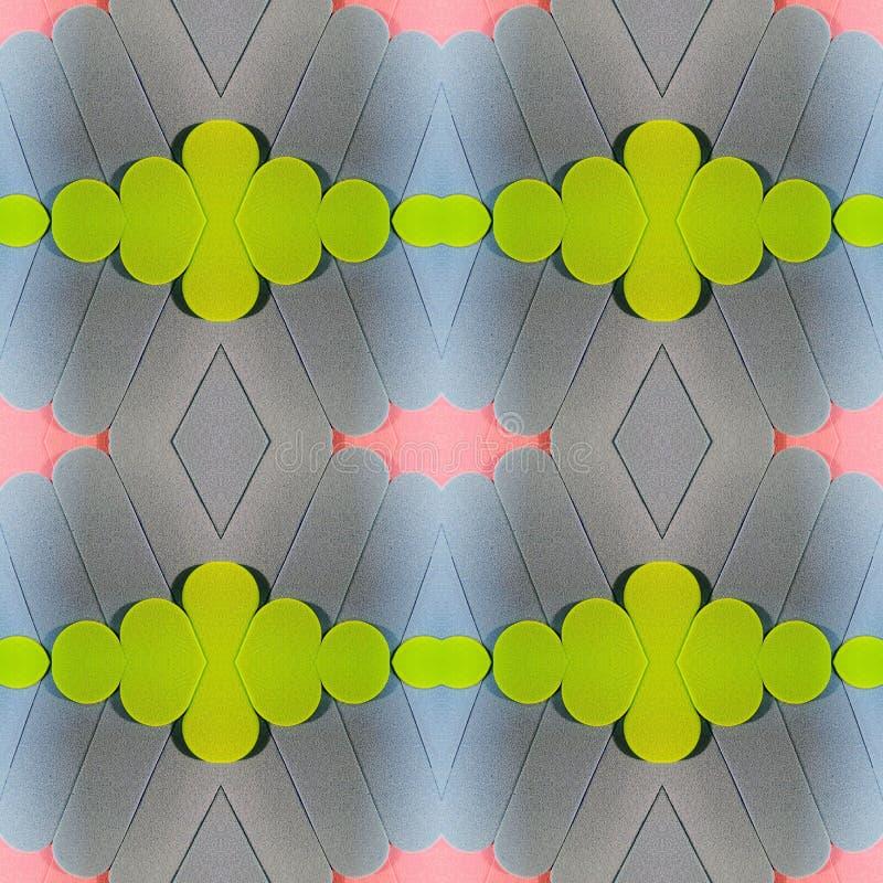 abstract ontwerp met besnoeiingen van schuimend in roze, groene en blauwe kleuren, achtergrond en textuur stock illustratie