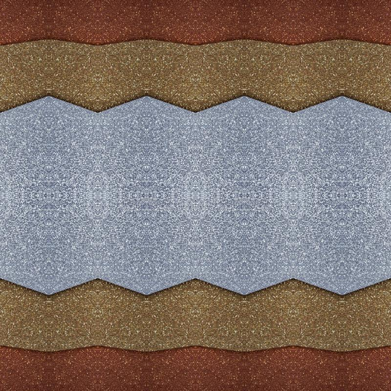 abstract ontwerp met besnoeiingen van schuimend in zilveren, gouden en koperkleuren, achtergrond en textuur stock illustratie