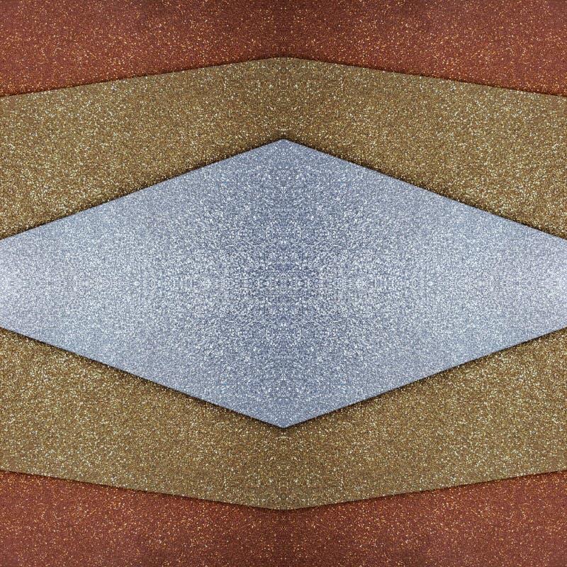 abstract ontwerp met besnoeiingen van schuimend in zilveren, gouden en koperkleuren, achtergrond en textuur royalty-vrije illustratie