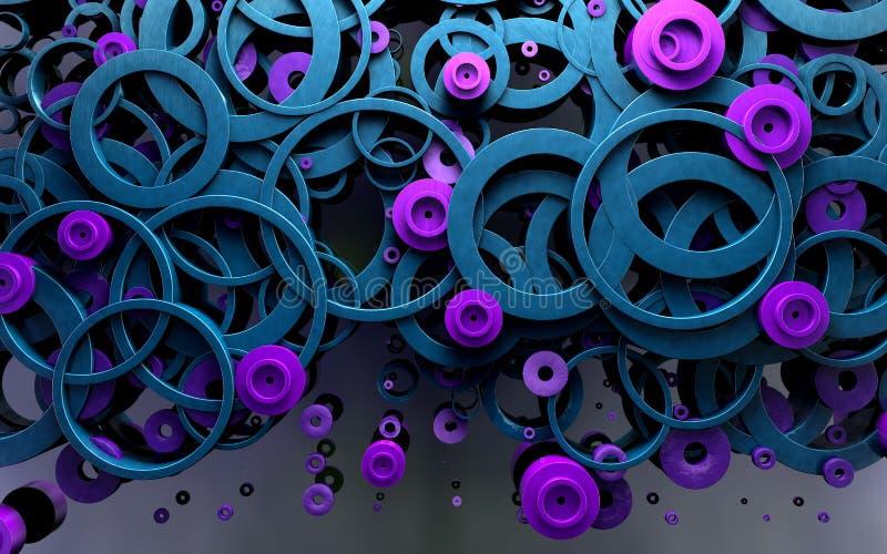 Abstract ontwerp van lijnen en ringen 3D Illustratie royalty-vrije stock fotografie