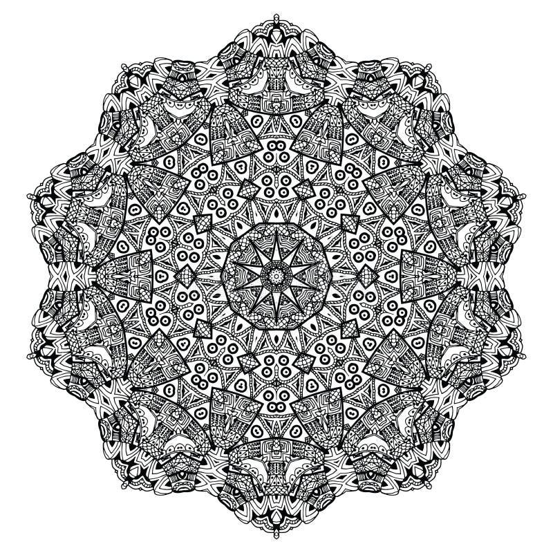 Abstract ontwerp zwart wit element Ronde mandala in vector Grafisch malplaatje voor uw ontwerp Het cirkelpatroon wordt gebruikt o royalty-vrije illustratie