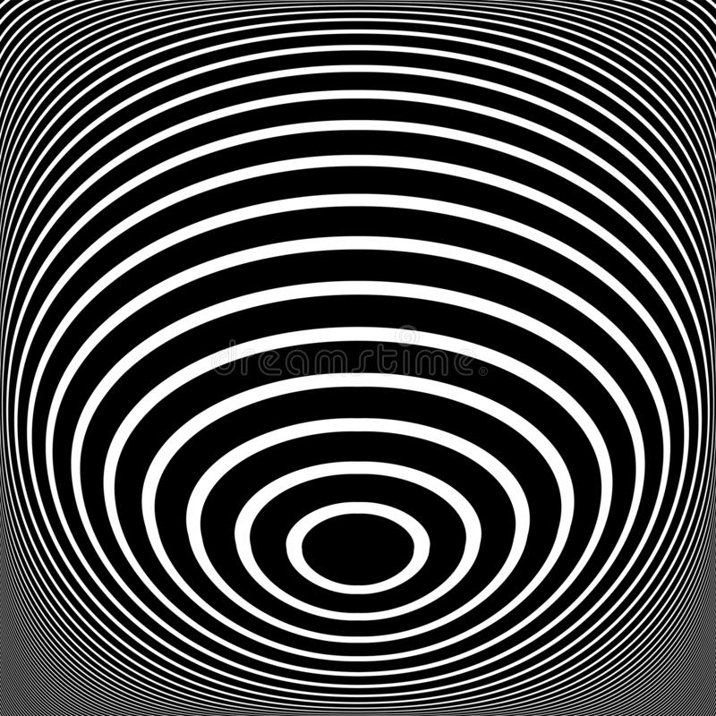 Abstract op art design. Oval lines texture. 3D illusion. Vector illustration royalty free illustration