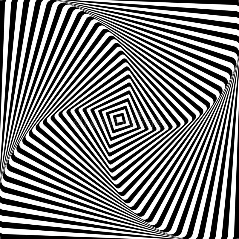 Abstract op art graphic design. Illusion of torsion rotation movement. stock illustration