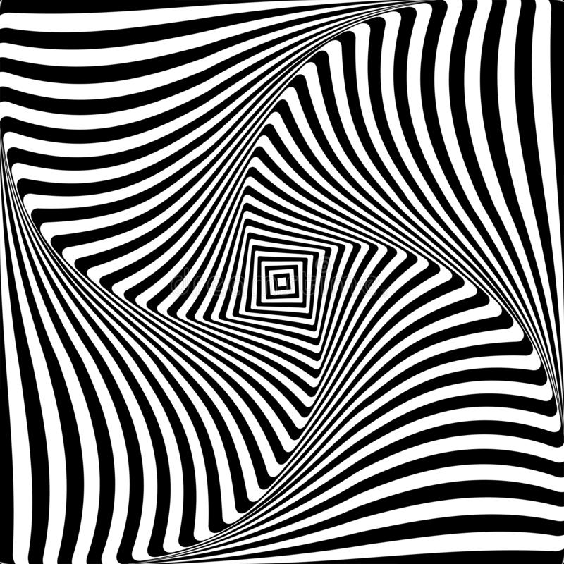 Abstract op art graphic design. Illusion of torsion rotation movement royalty free illustration