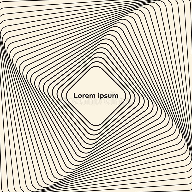 Abstract op art graphic design. Illusion of torsion rotation movement. vector illustration
