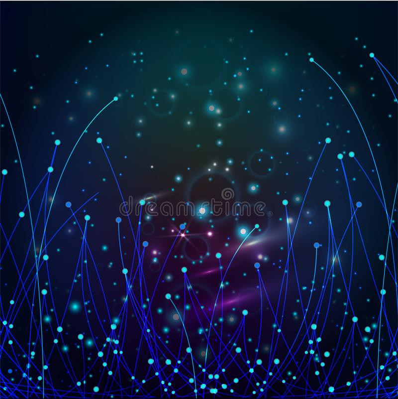 Abstract Optical Fibers. Abstract background with glowing particles and light lines. royalty free illustration