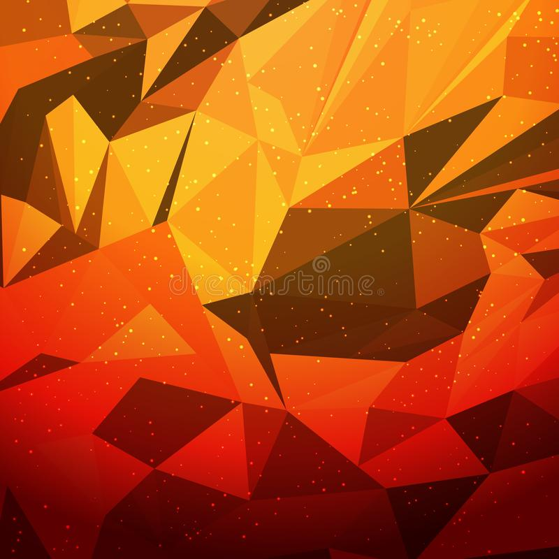 Abstract orahge geometric triangular desing low polygon royalty free illustration