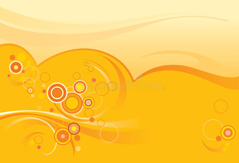 Abstract orange background, circles vector illustration