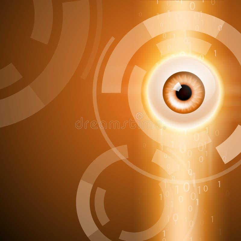Orange background with eye royalty free illustration