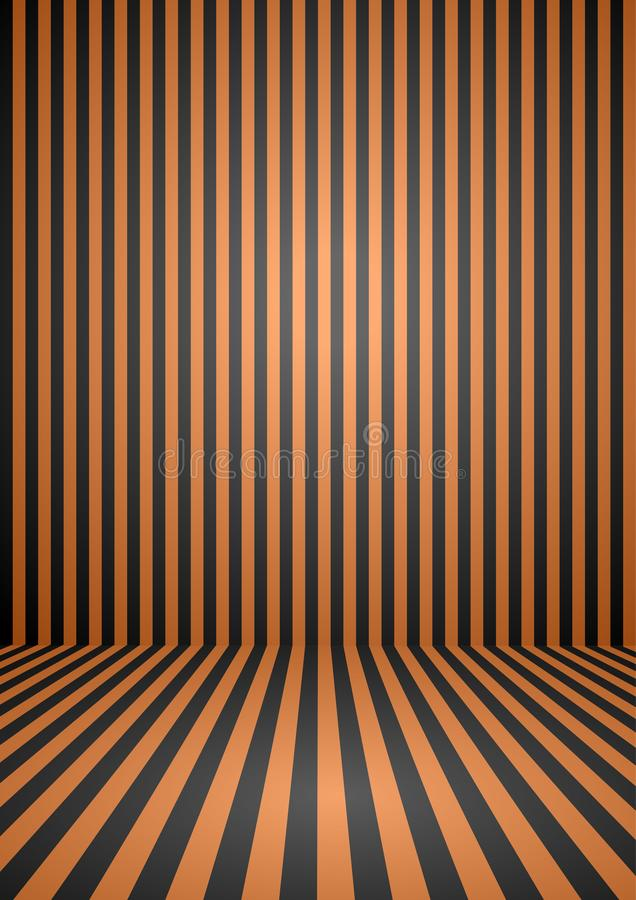 Abstract orange and black color vintage striped room, background for halloween theme. stock illustration