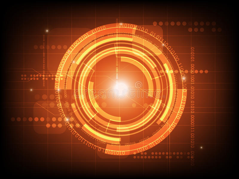Abstract orange circle digital technology background, futuristic structure elements concept background. Design stock illustration