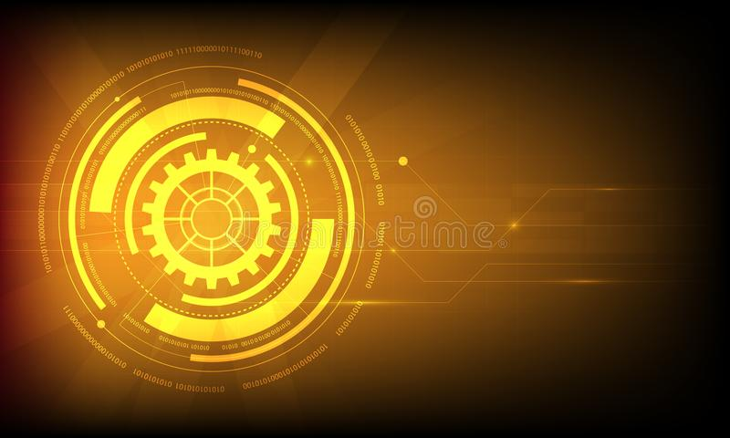 Abstract orange circle digital technology background, futuristic structure elements concept background. Design vector illustration
