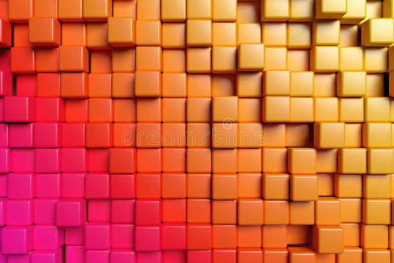 Abstract orange cubes 3d background stock illustration