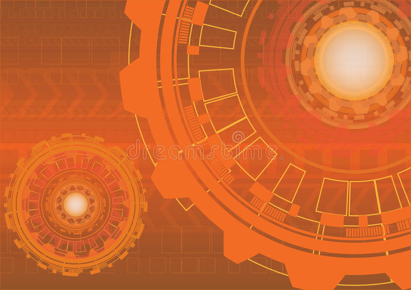 Abstract orange digital technology background with gears. Vector illustration royalty free illustration