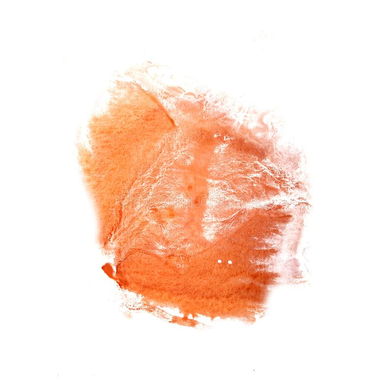 Abstract The orange drawing stroke ink watercolor brush water co. Lor splash paint watercolour background stock image