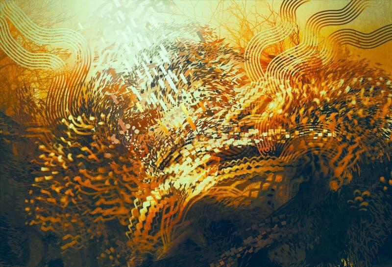 Abstract orange elements,fantasy aquatic concept. Digital painting of abstract orange elements,fantasy aquatic concept stock illustration