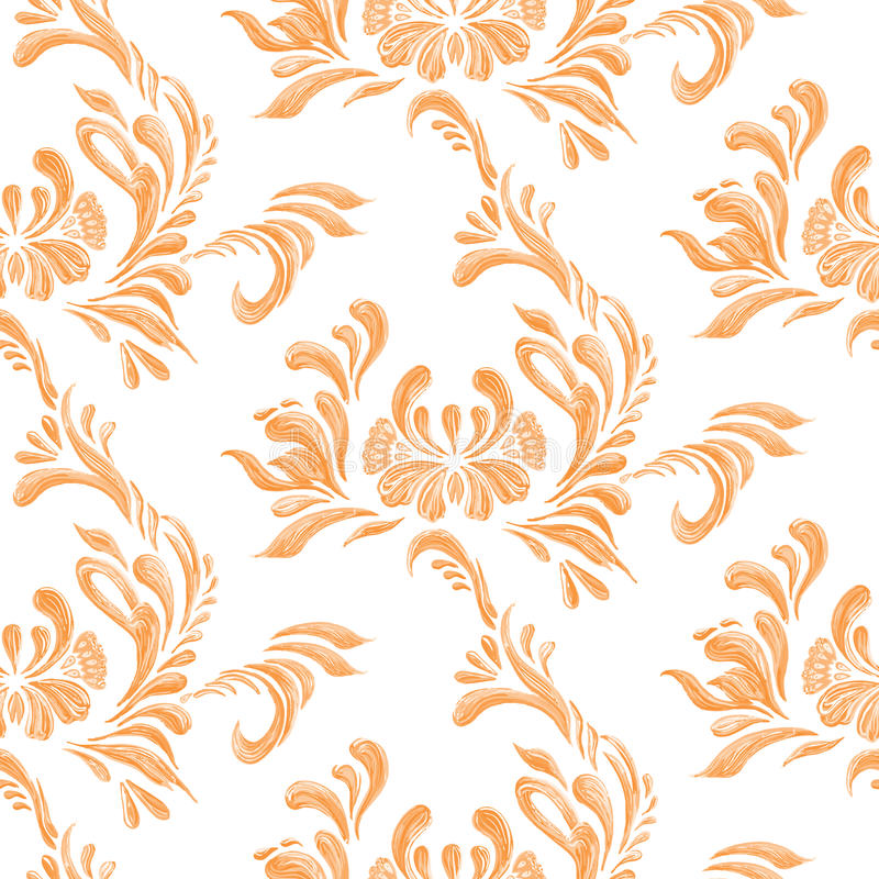 Abstract orange floral seamless pattern. Abstract orange elegance seamless pattern with floral background. Ukrainian folk art stock illustration