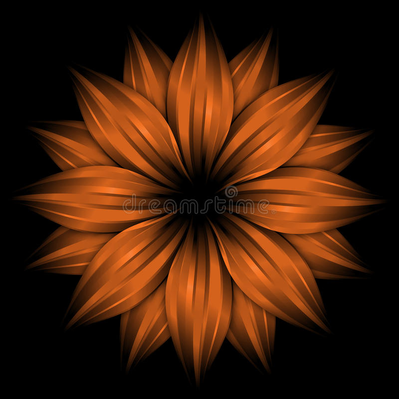 Abstract Orange Flower On Black Background Stock