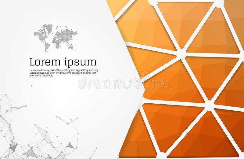Abstract Orange geometric design template with triangular polygonal background. Info graphics background with geometric shapes. Creative business cards, clean royalty free illustration