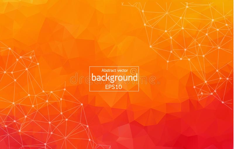 Abstract orange Geometric Polygonal background molecule and communication. Connected lines with dots. Concept of the science, chem. Istry, biology, medicine royalty free illustration
