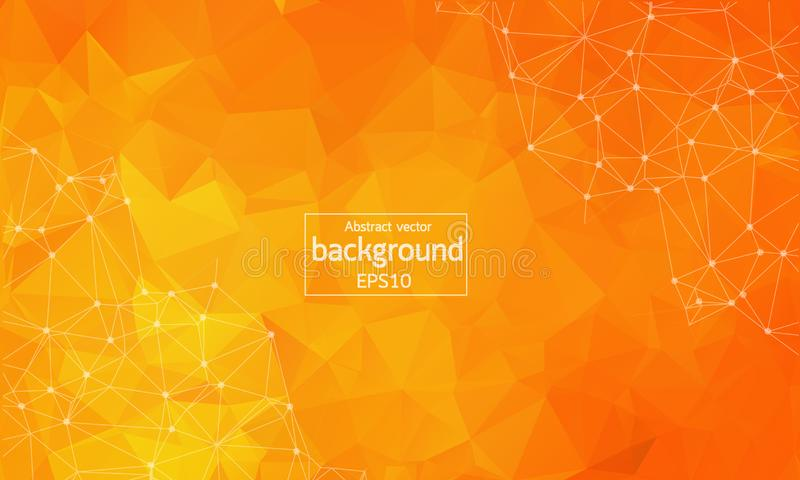 Abstract orange Geometric Polygonal background molecule and communication. Connected lines with dots. Concept of the science, chem. Istry, biology, medicine vector illustration