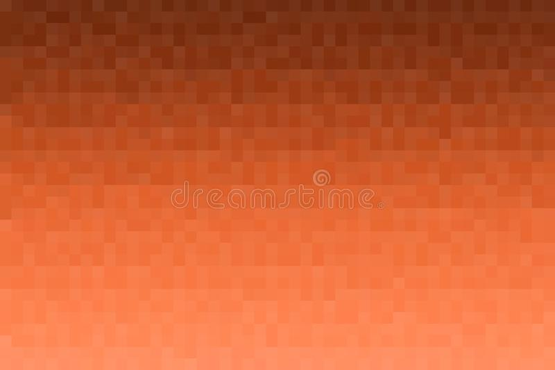 Abstract orange gradient background. Texture with pixel square blocks. Mosaic pattern.  stock illustration