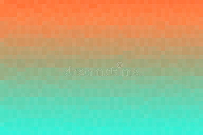 Abstract orange and green gradient background. Texture with pixel square blocks. Mosaic pattern stock illustration