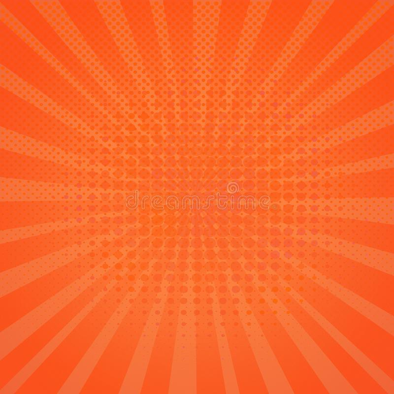 Abstract orange halftone dots background in pop art style. royalty free illustration