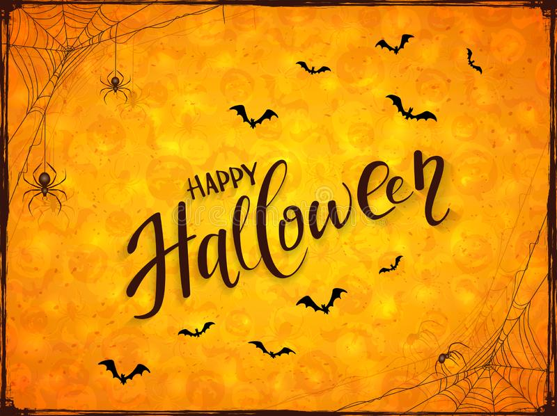 Abstract Orange Halloween Background with Spiders royalty free illustration