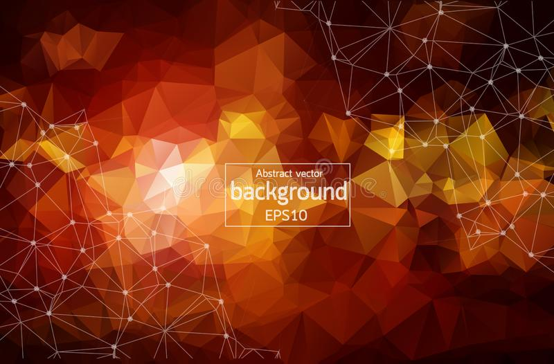 Abstract Orange light Geometric Polygonal background molecule and communication. Connected lines with dots. Concept of the science. Chemistry, biology vector illustration