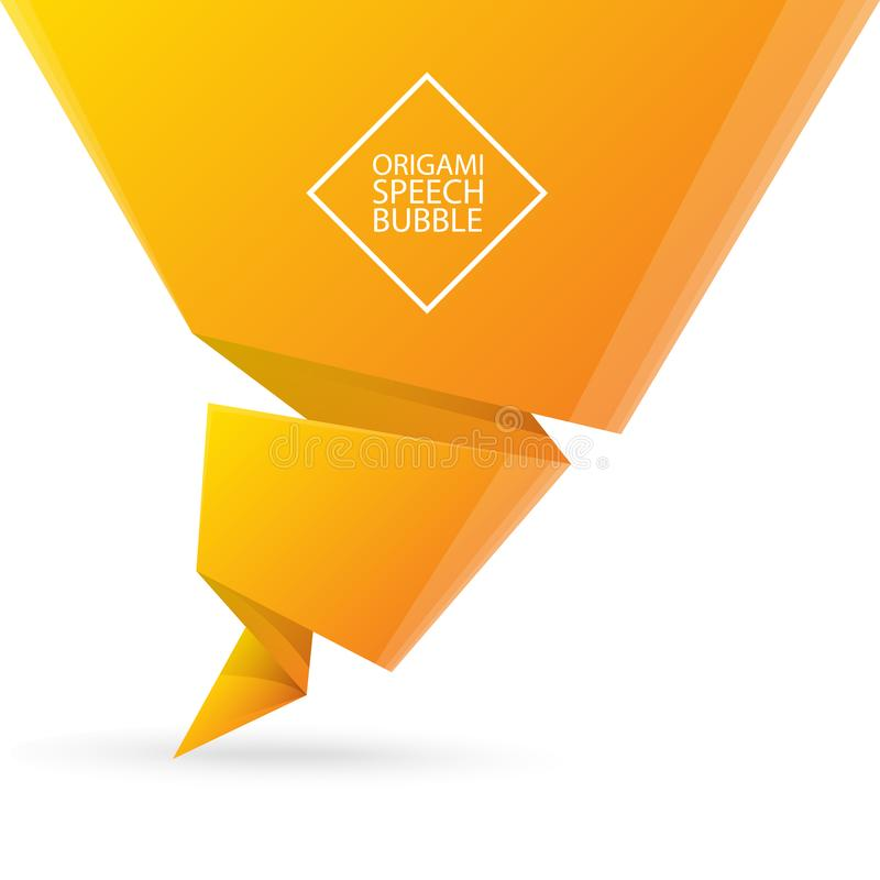 Abstract orange origami speech bubble or banner isolated on white background. Ribbon banner, scroll, price tag, sticker. Vector Abstract orange origami speech vector illustration