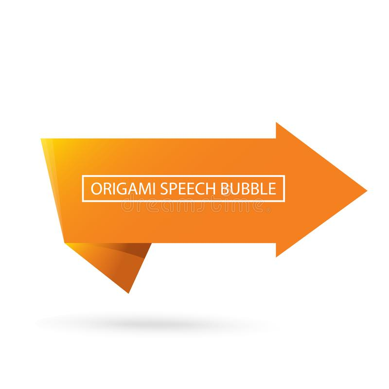 Abstract orange origami speech bubble or banner isolated on white background. Ribbon banner, scroll, price tag, sticker. Vector Abstract orange origami speech royalty free illustration