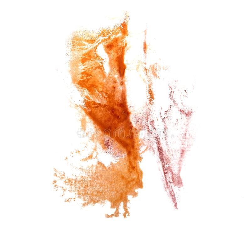 Abstract Orange, pink drawing stroke ink watercolor brush water. Color splash paint watercolour background 2 royalty free stock photography