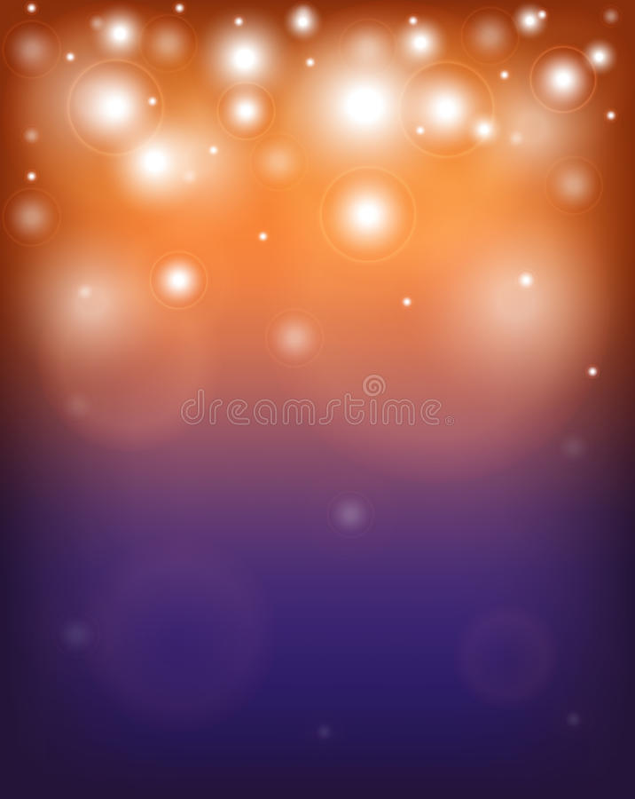 Abstract orange and purple background with sparkles royalty free illustration